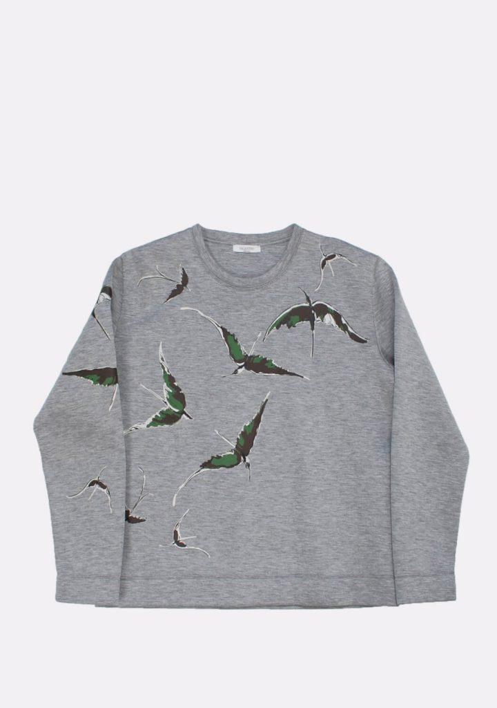 valentino-gray-jumper-with-bird-motives