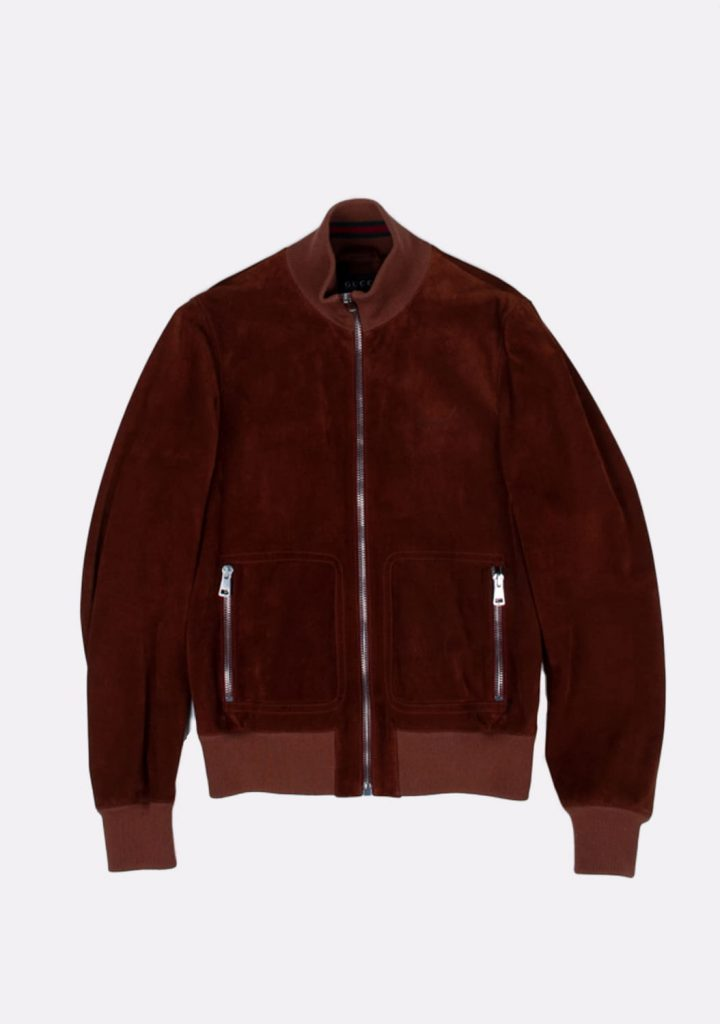 gucci-brown-suede-leather-bomber-jacket