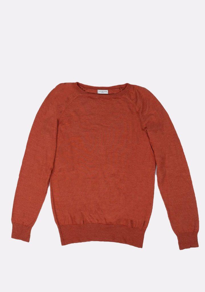 dries-van-noten-preloved-orange-color-thin-wool-sweater